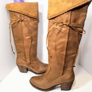Rocket Dog Tall Faux Suede Brown Boots sz 7.5